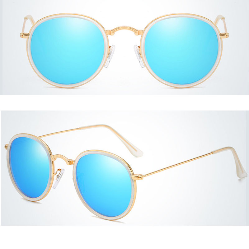 round mirrored sunglasses women's