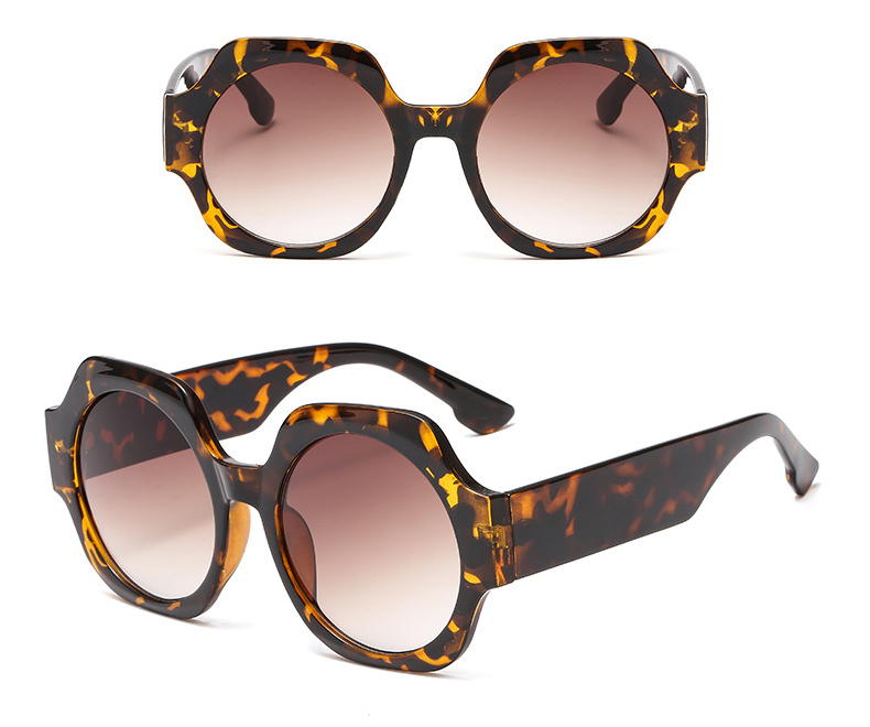 Large hexagon leopard sunglasses