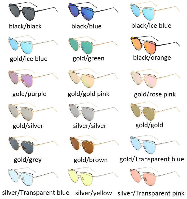 Wholesale metal cat eye sunglasses flat gold rose mirror sunglass FLXX10