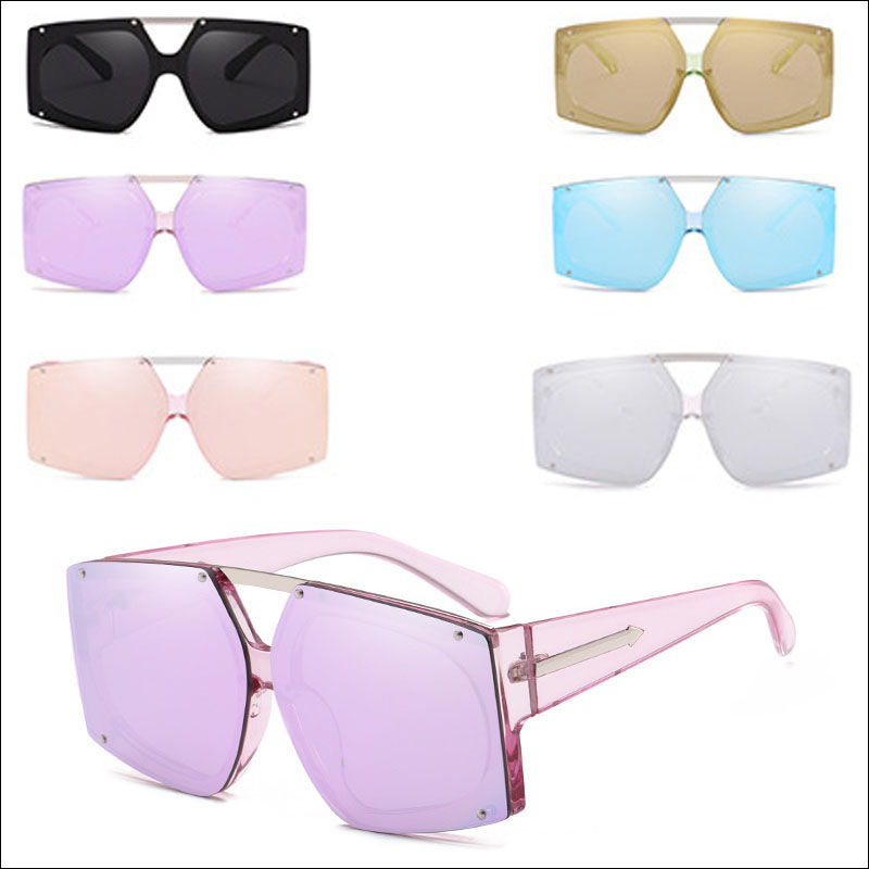 Metal women oversized sunglasses
