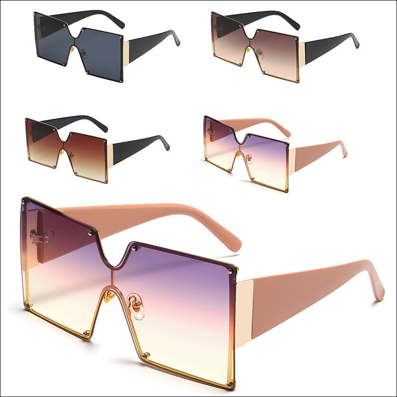 Square oversized metal sunglasses