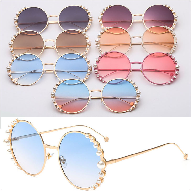 Round pearl women sunglasses