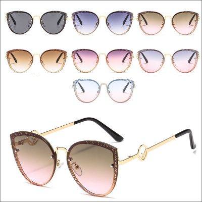 Cat eye metal sunglasses