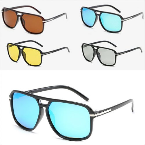 Polarized plastic aviator sunglasses