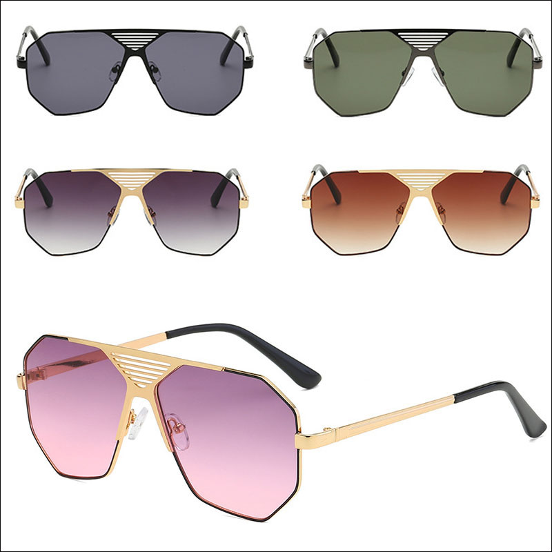 Metal hollow polygonal sunglasses