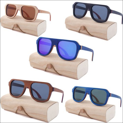 Recycled skateboard wood sunglasses