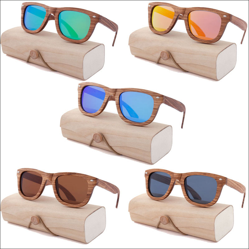 Zebra wood sunglasses with polarized lenses