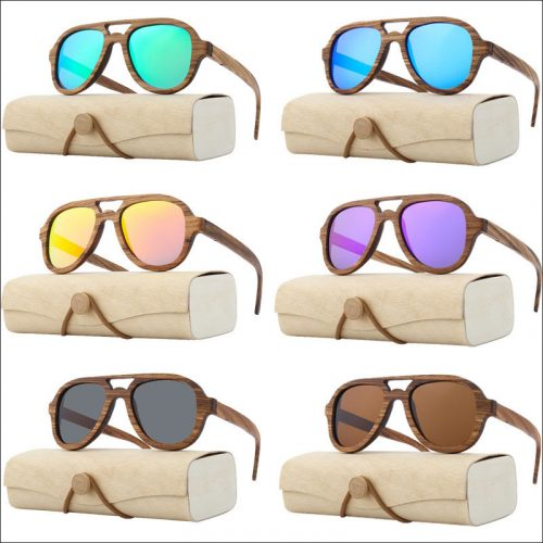 Wood aviator sunglasses polarized