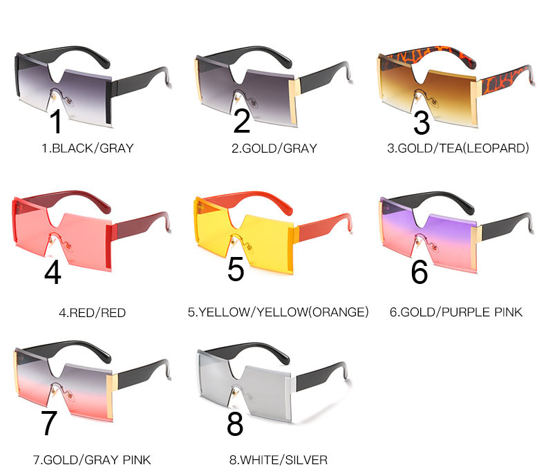 Designer square sunglasses one piece oversized rimless