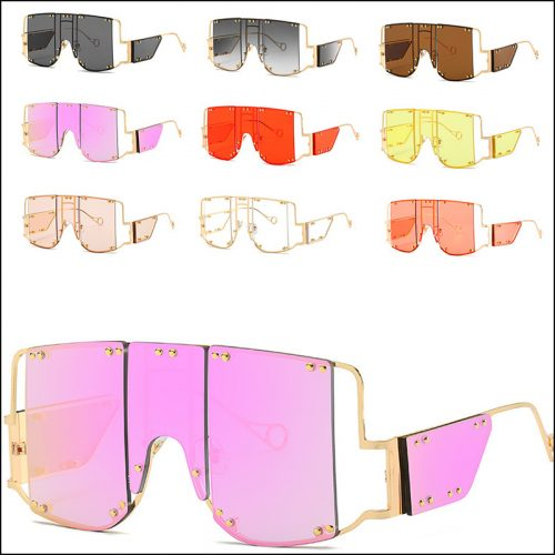 One-piece oversized punk rivet female Harena sunglasses wholesale,#NQ9941