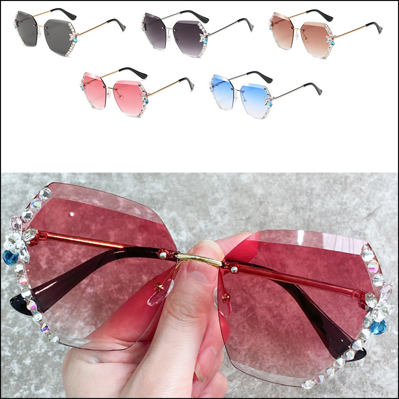 Rimless lens diamond polygonal female personality gradient sunglasses wholesale