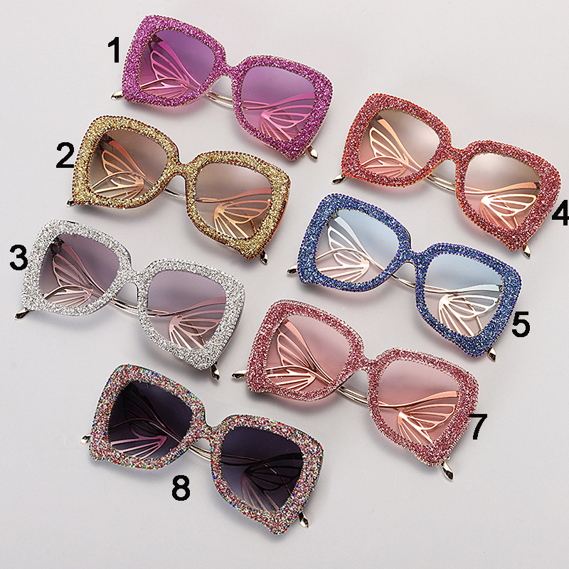 New luxury diamond big exquisite shiny gravel butterfly temple sunglasses wholesale, #NQ92512