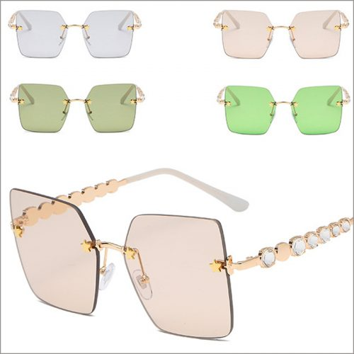 New square rimless sunglasses with rhinestone wholesale, #NQ92522