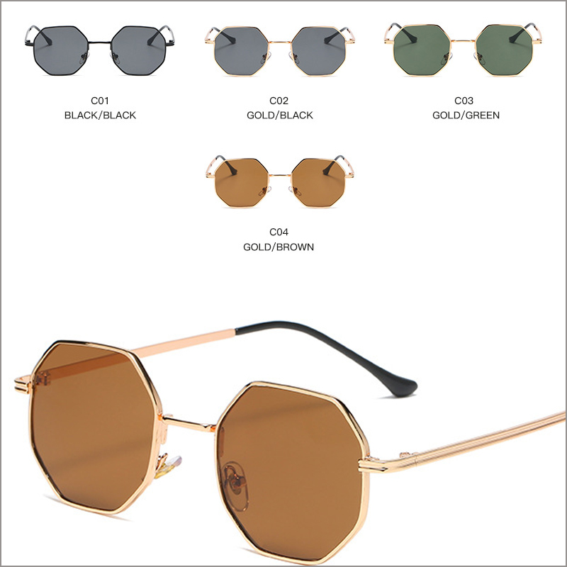 Retro octagonal round metal unisex sunglasses wholesale, #NQ92520