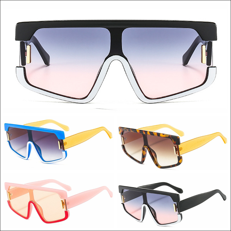 contrast color personality one-piece big oversized sunglasses wholesale