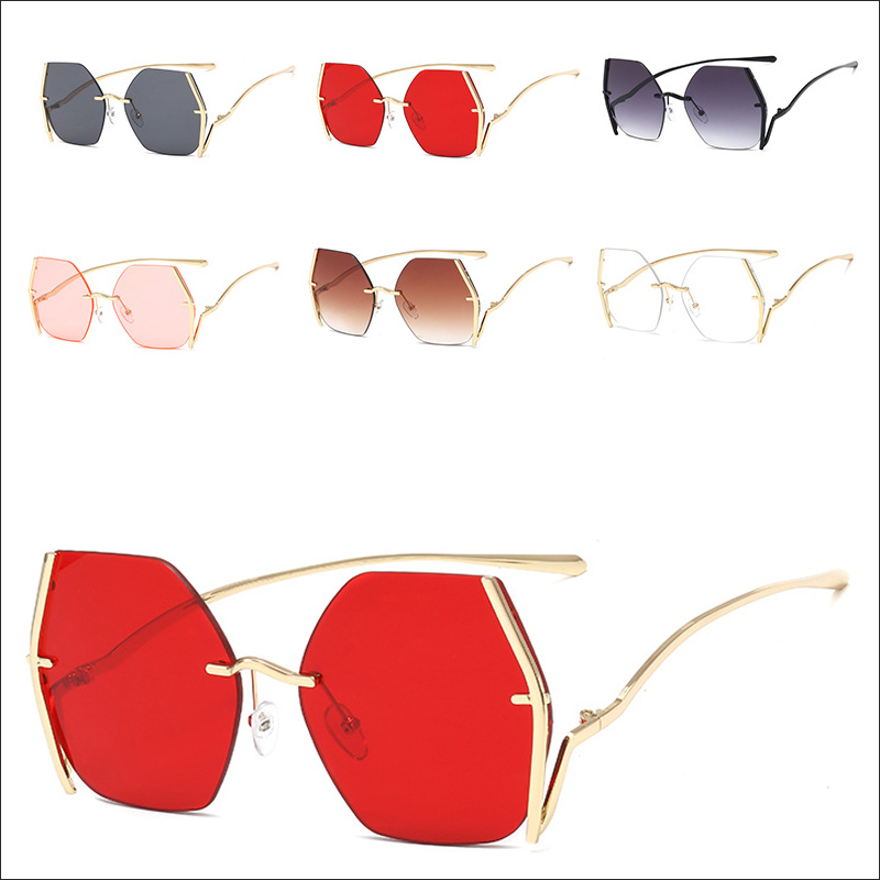 Designer Polygon Metal Frame Oversiszed Sunglasses Wholesale #N2403