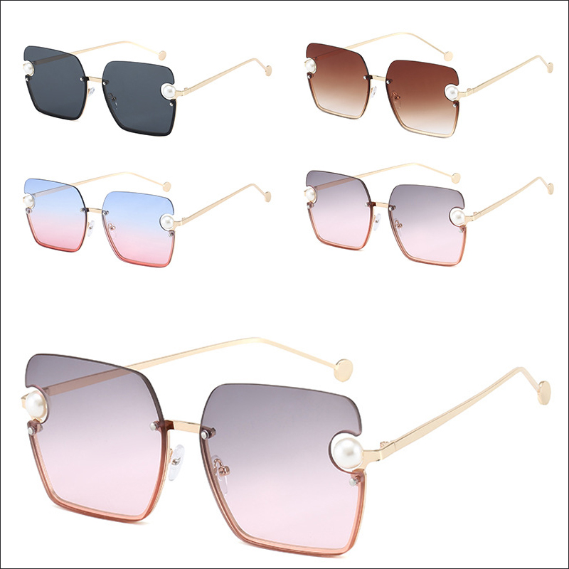 Designer half frame pearl luxury oversiszed sunglasses shades wholesale #N2404