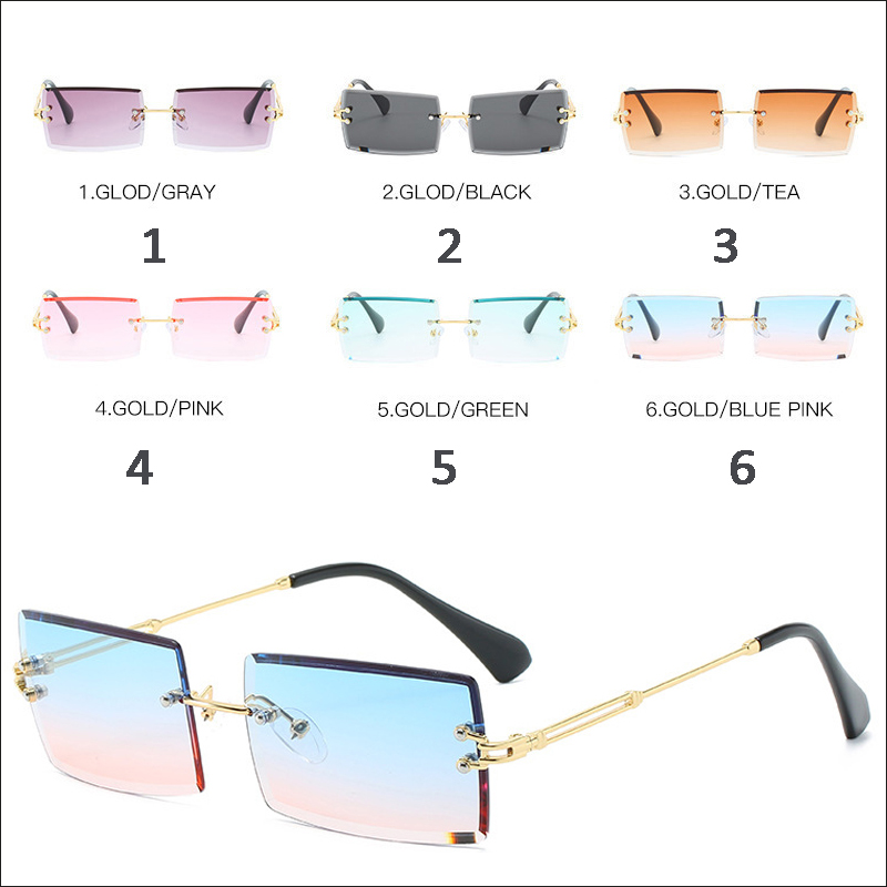 Designer rectangle rimless small sunglasses wholesale #N2005