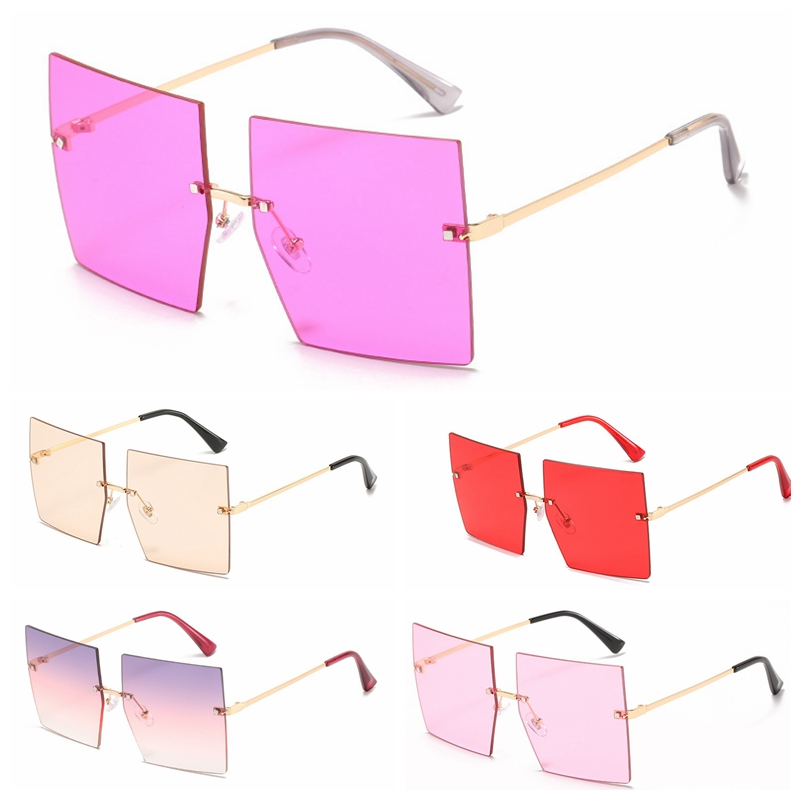 Designer square rimelss women fashion sunglasses wholesale #N0518
