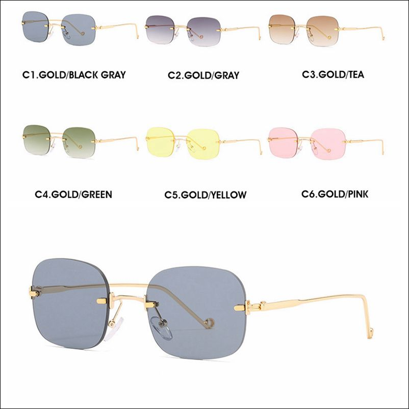 Designer square rimless metal sunglass shades wholesale #F2210