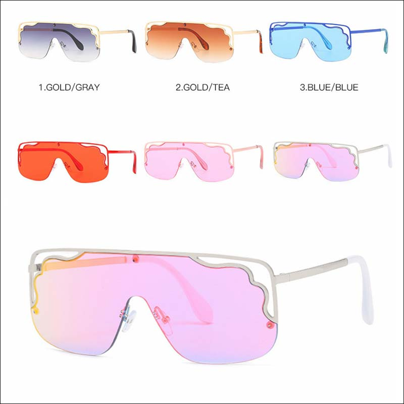 Fashion flat top one piece designer sunglass shades wholesale #F2523