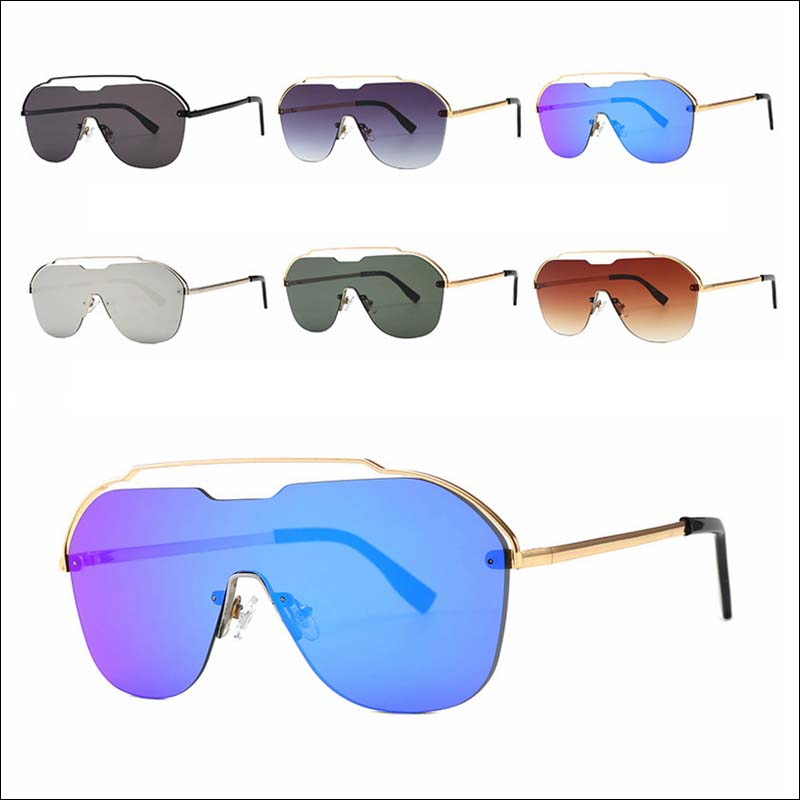 Fashion oversized one piece metal sunglass shades wholesale #F2538