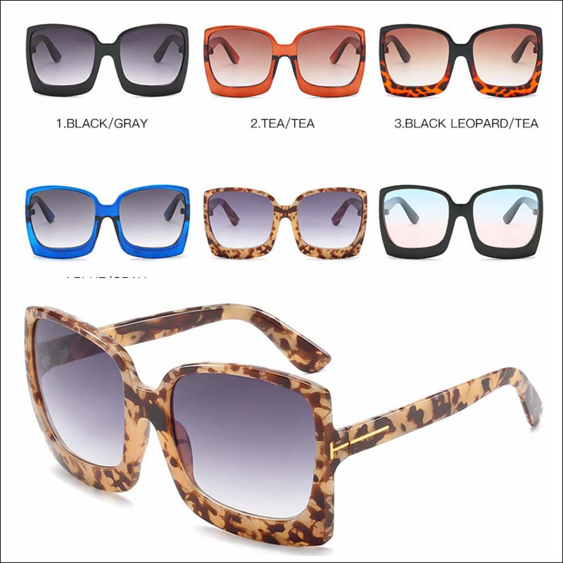 Fashion women leopard large sunglass shades wholesale #F2533