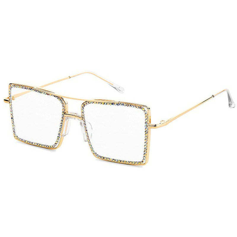 Alloy Suqare Full Crystal Shiny Clear Glasses For Women M1907