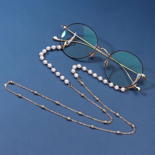 Gold pearl chian for face mask sunglasses S1012
