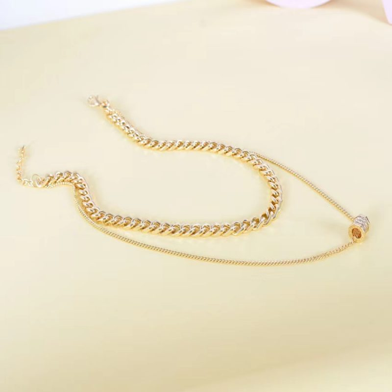 Roman number Real gold plating necklace N0117
