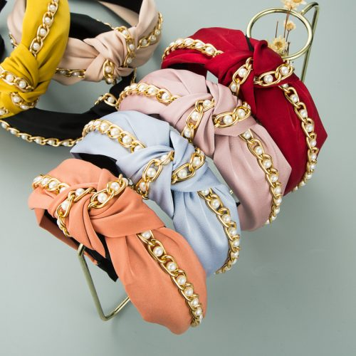 Wholesale chain headbands knotted pearl in bulk H0126