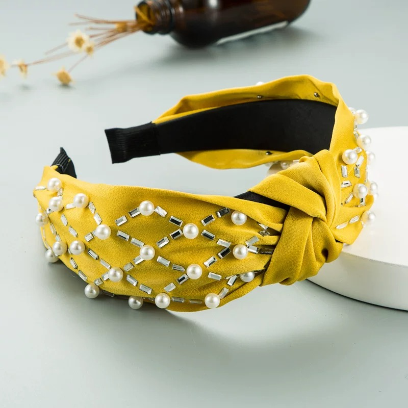 Wholesale cute pearl wide side knotted headband H0104