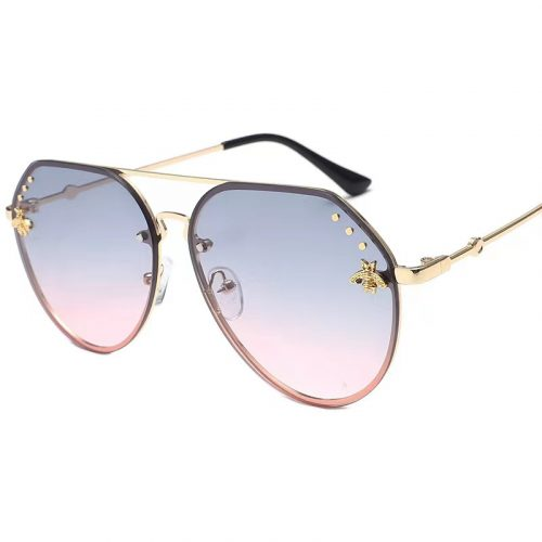 Wholesale oversized rimless sunglasses pink brown S1004