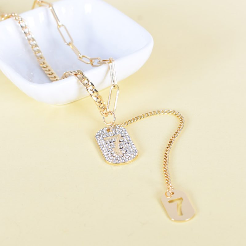 Wholeslae luxury gold-plated square necklace N0128
