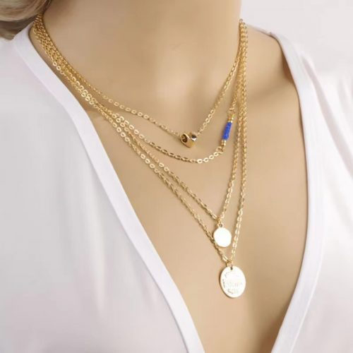 Wholeslae multi-layer coin round necklace N0125